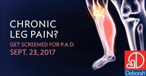 Chronic Leg Pain? Get Screened For P.A.D on September 23, 2017