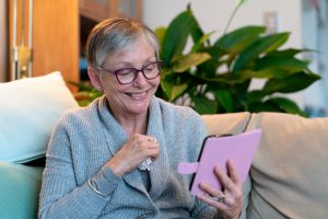 Senior woman using telehealth