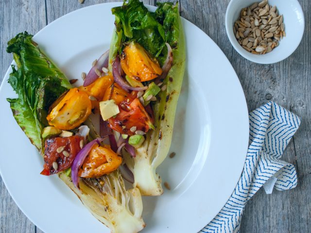 Grilled Romaine and Tomato Salad