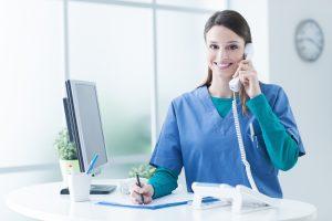 hopsital staff answering phone