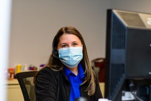 Hospital worker wearing mask