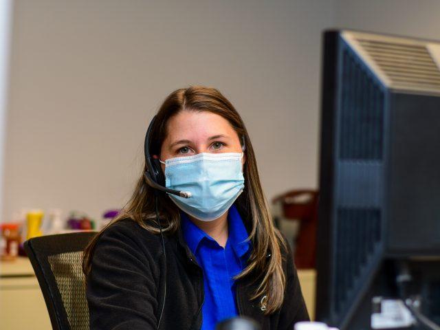 Hospital worker wearing mask