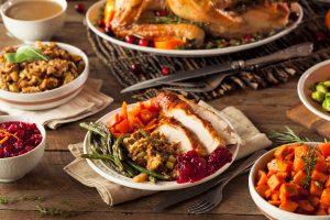 Turkey dinner with stuffing.