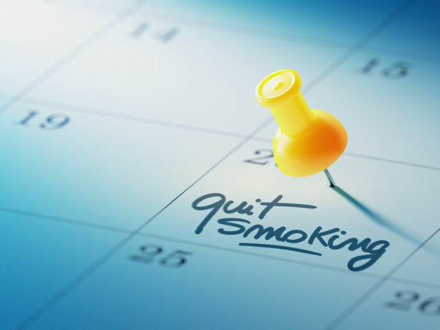 Calendar with day marked Quit Smoking