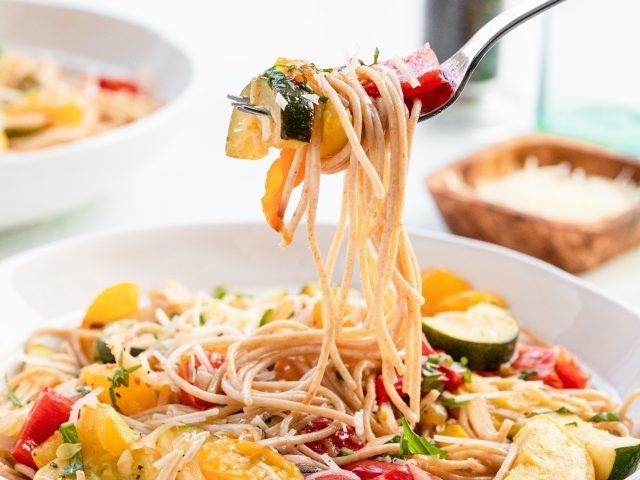 Spaghetti and Roasted Vegetables