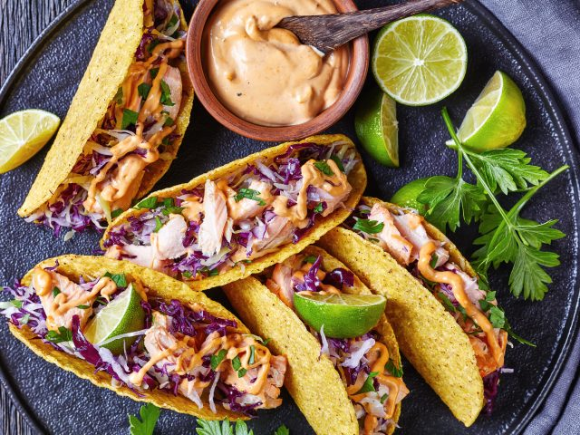 Salmon Tacos with Red Cabbage Slaw