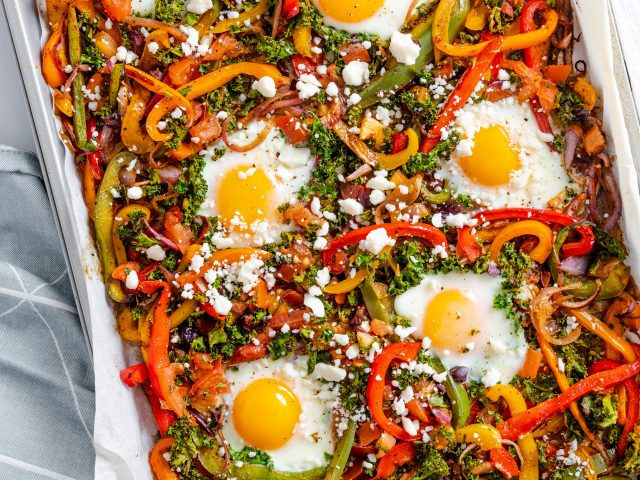Sheet Pan Baked Eggs and Roasted Veggies