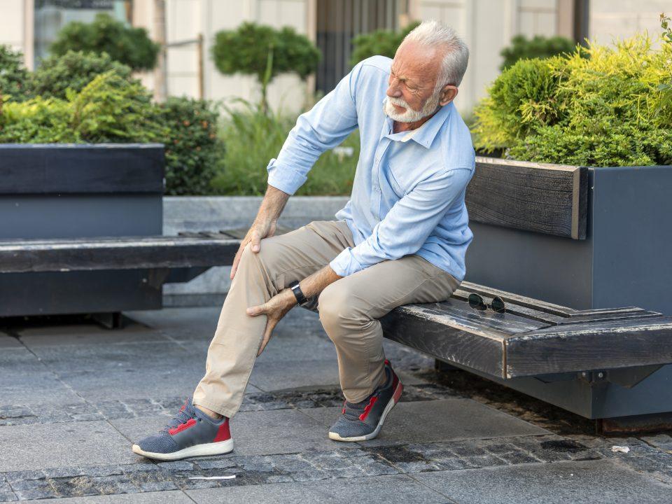 Senior with leg cramps.